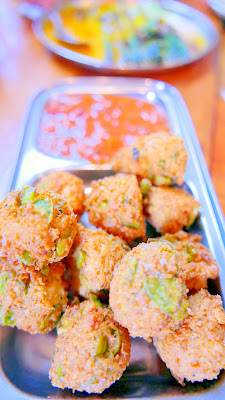 Mixed Dal, Fava Bean and Paneer Pakoras with Rhubarb Strawberry Achaar from Bollywood Theater recipe on the blog today