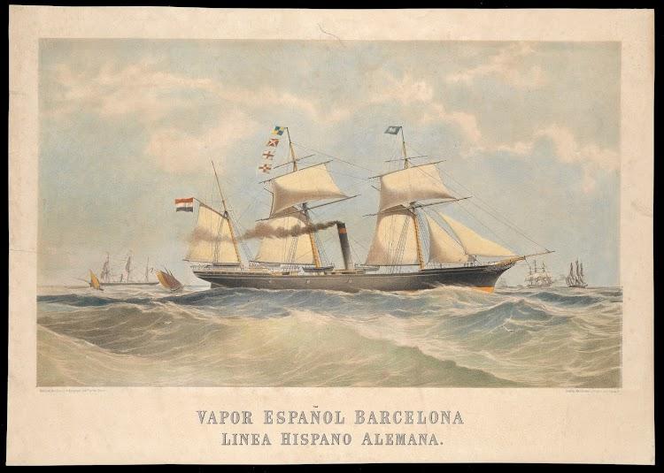 Vapor BARCELONA segun litografia de Machire, McDonald & MacGregor. National Maritime Museum of Greenwich.jpg