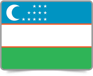 Uzbekistani framed flag icons with box shadow