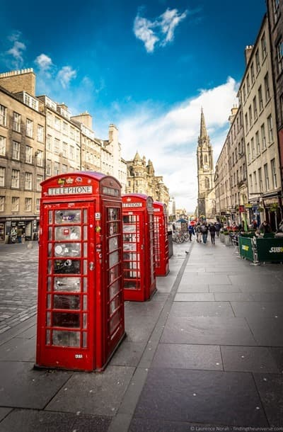 Royal Mile telephone boxes Edinburgh