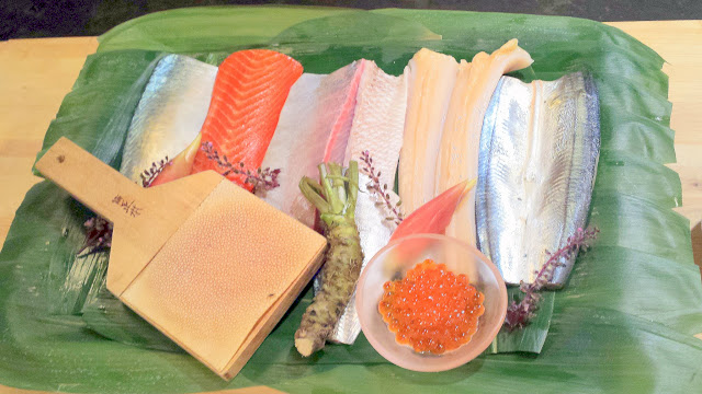 Display of the sushi to come, fresh from picked up at the airport less than 24 hours before and sourced from Tsukiji and Fukuoka Municipal