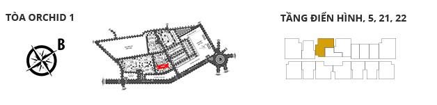 Vị trí các tòa tháp, các tầng có căn hộ 2 phòng ngủ DT: 87,77m2