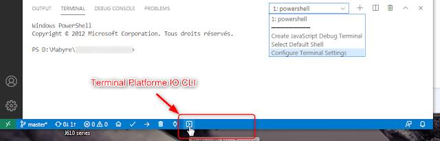 Visual Studio Code pour Arduino - Terminal PlatformIO CLI