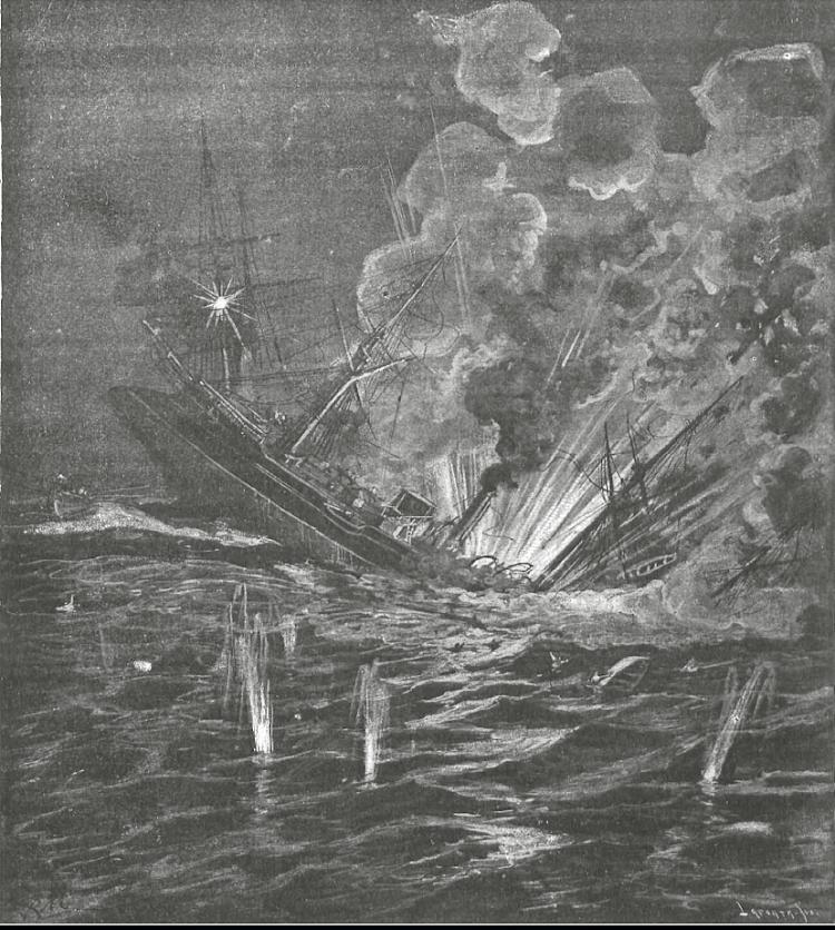 El 26 de septiembre de 1895 la revista Nuevo Mundo publicaba un grabado representando la explosión de las calderas del crucero. Cosa que alguna fuente nego que ocurriese.png