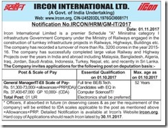IRCON Notification 2017 General Manager IT www.indgovtjobs.in