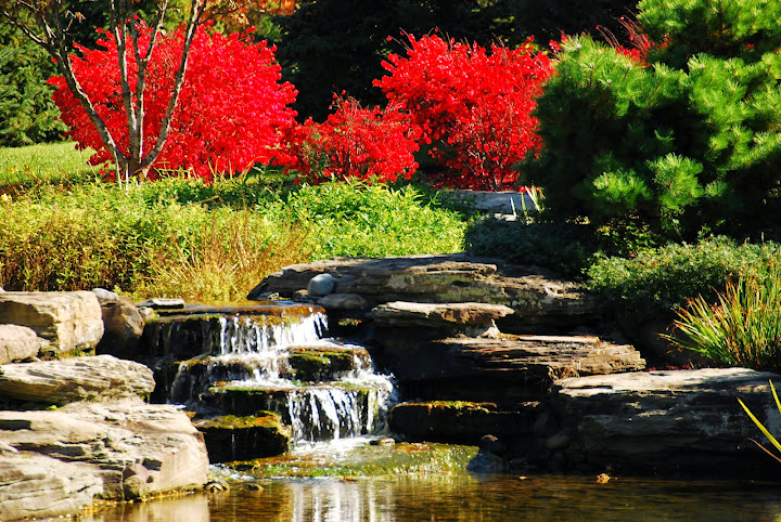 Waterfall. From Fall Color Weekend Getaway: Meijer Gardens & Sculpture Park