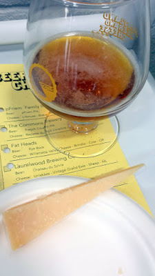 Portland Beer and Cheese Fest 2015, pairing of Laurelwood Brewing Co Chateau du Sylvia with Uniekaas Vintage Grand Ewe sheep cheese from Netherlands