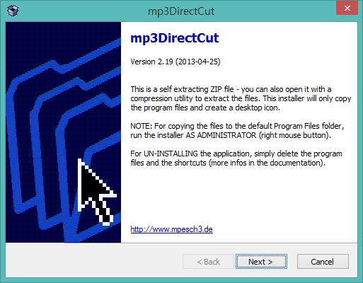 mp3directcut 설치화면