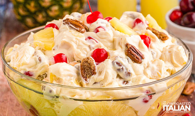 Pineapple Upside Down Cheesecake Salad in a glass bowl