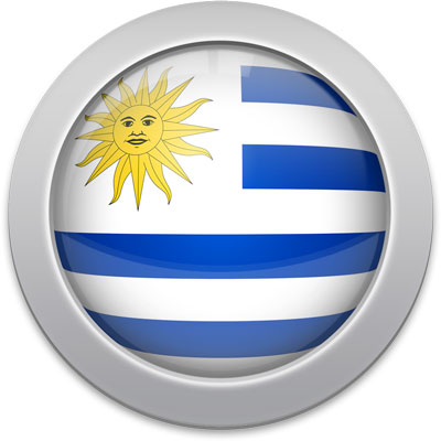 Uruguayan flag icon with a silver frame