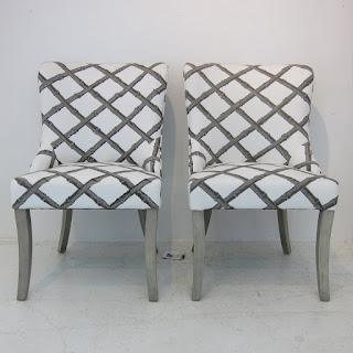 Florence Broadhurst Bamboo-Upholstered Chair Pair