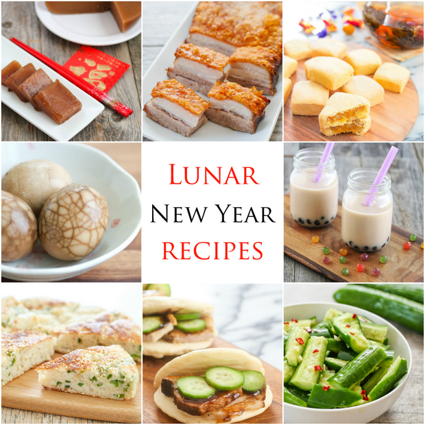 photo collage of different Lunar New Year recipes