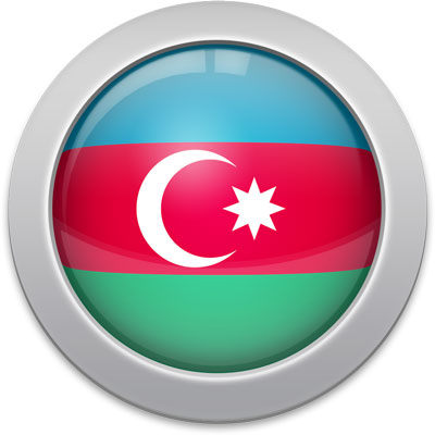 Azerbaijani flag icon with a silver frame