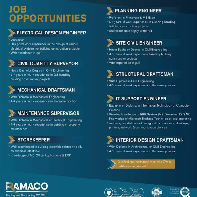 New Vacancies At Ramaco Construction Company Qatar