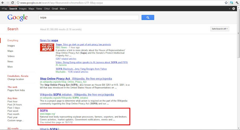 SOPA Google Result