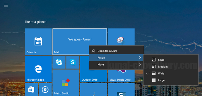 1. Windows 10 Start Menu Context Menu - Resize Tile (www.kunal-chowdhury.com)