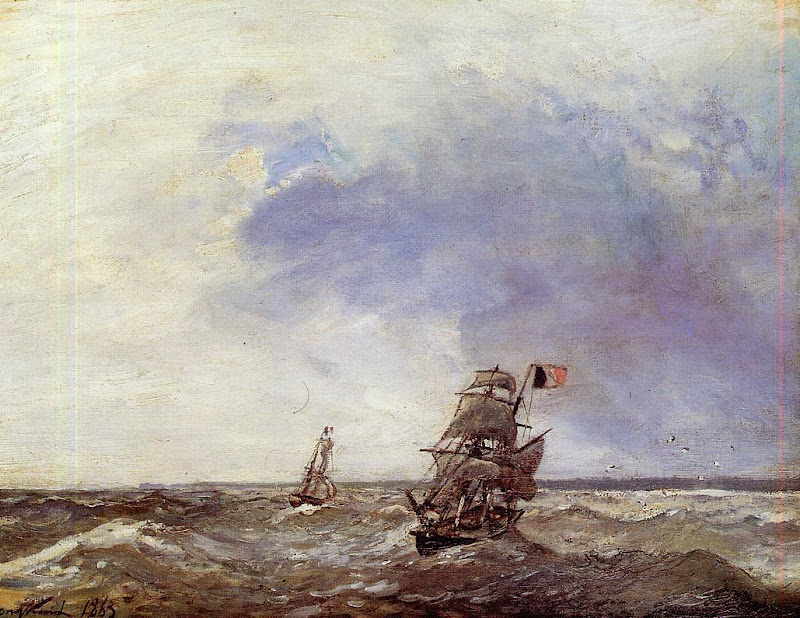 Johan Jongkind - Ships at Sea
