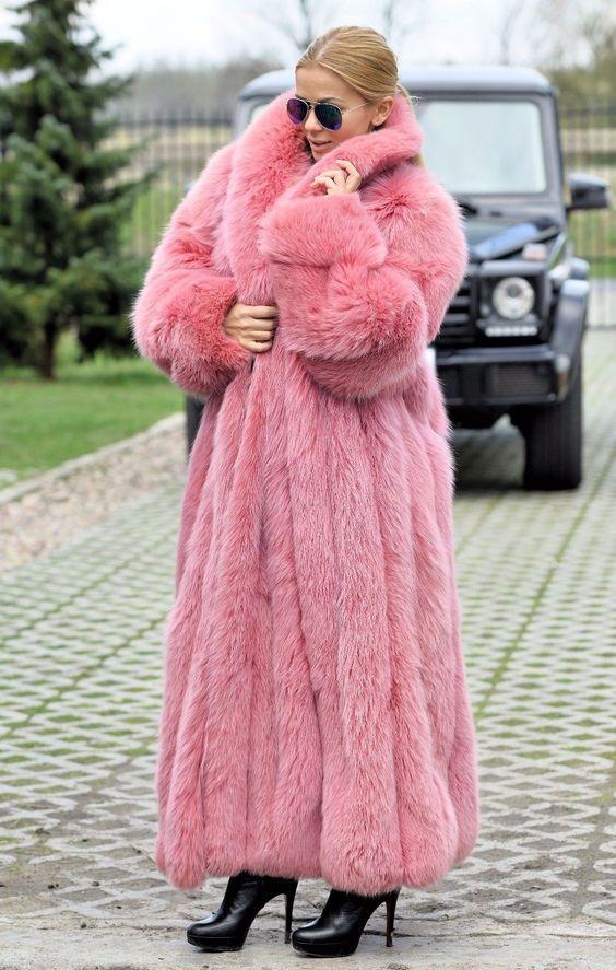 Pink long Fur faux