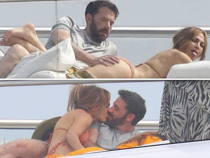 Ben Affleck grabs J.Lo's bum and kisses her as they relax on Yacht (photos)