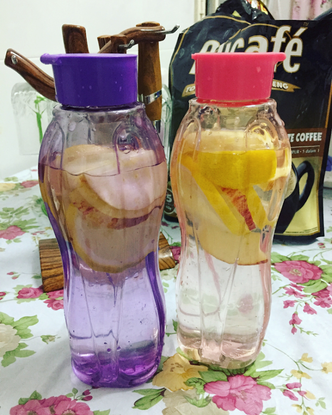Buat Air Detox Sendiri Di Rumah Guna Lemon dan Epal Merah