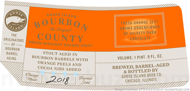 Goose Island Adding 2018 Bourbon County Reserve Elijah Craig, Neapolitan, Coffee, Vanilla, Bramble Rye, Proprietors, Midnight Orange & Horchata