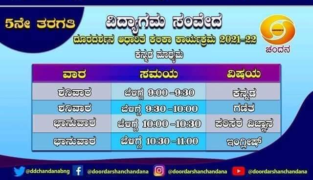 """5th class """"Vidyagama Sanveda"""" lessons broadcast on Chandana channel today"""