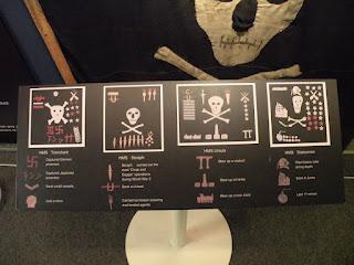 Госпорт. Музей Подводных Лодок. Расшифровка знаков на флагах Веселого Роджера британских подлодок.