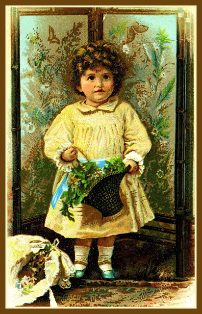 girl in yellow victorian dress holding flower basket with her hat in foreground