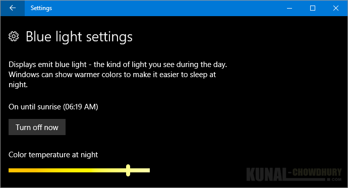 Turn ON or OFF blue light settings in Windows 10 Creators Update (www.kunal-chowdhury.com)
