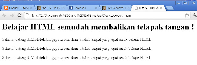 hasil tutorial html