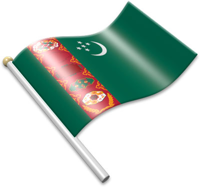 The Turkmen flag on a flagpole clipart image