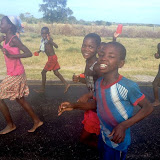 Kids on the route join in