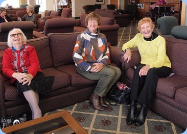 Noeline Clingin, Nelleke Moffat and Edith Fyfe relaxing to the music.