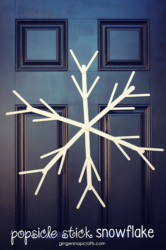 Popsicle Stick Snowflake at GingerSnapCrafts.com #popsiclestick #crafts