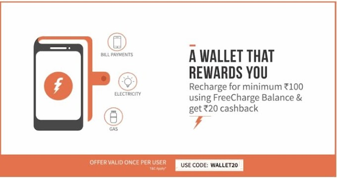 Freecharge Offer – Recharge with Rs.100 or above and get Rs.20 cashback (All users)