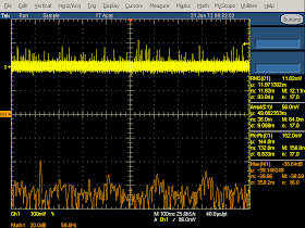 Low frequency oscilloscope trace from Motorola phone charger