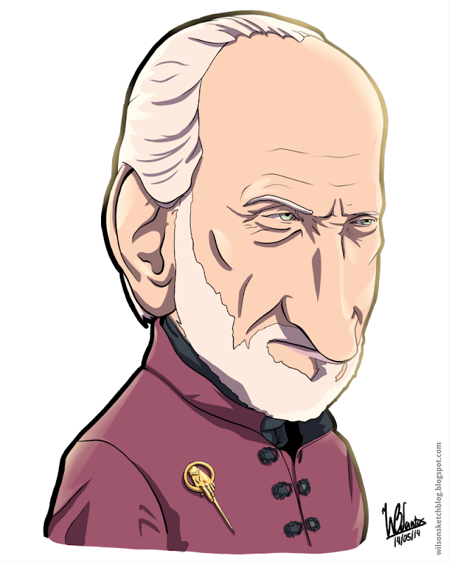 Cartoon caricature of Tywin Lannister from Game of Thrones.