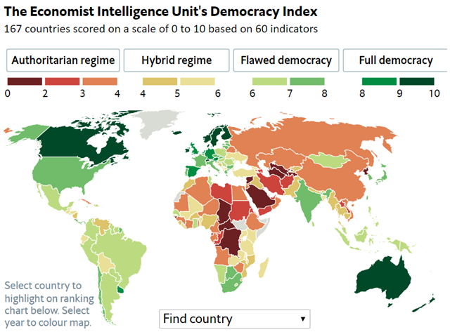 The Economist Intelligence Unit's Democracy Index, 2016. Graphic: Economist Intelligence Unit