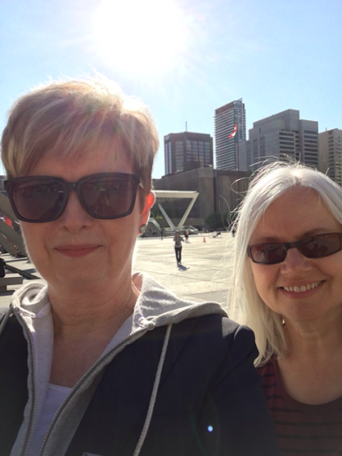 Sue and Elizabeth in Nathan Phillips Square, Toronto