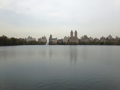 Skyline view of the West side from the East side of the Jacqueline Kennedy Onassis reservoir at Central Park