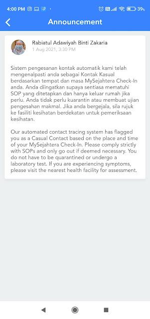 Panik! Profile MySejahtera Bertukar Kepada Kontak Kasual.
