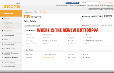 NTUC Income Online: where is the renew button for me to renew my motorcycle insurance?