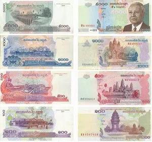 Gambar mata uang negara Kamboja kertas riel