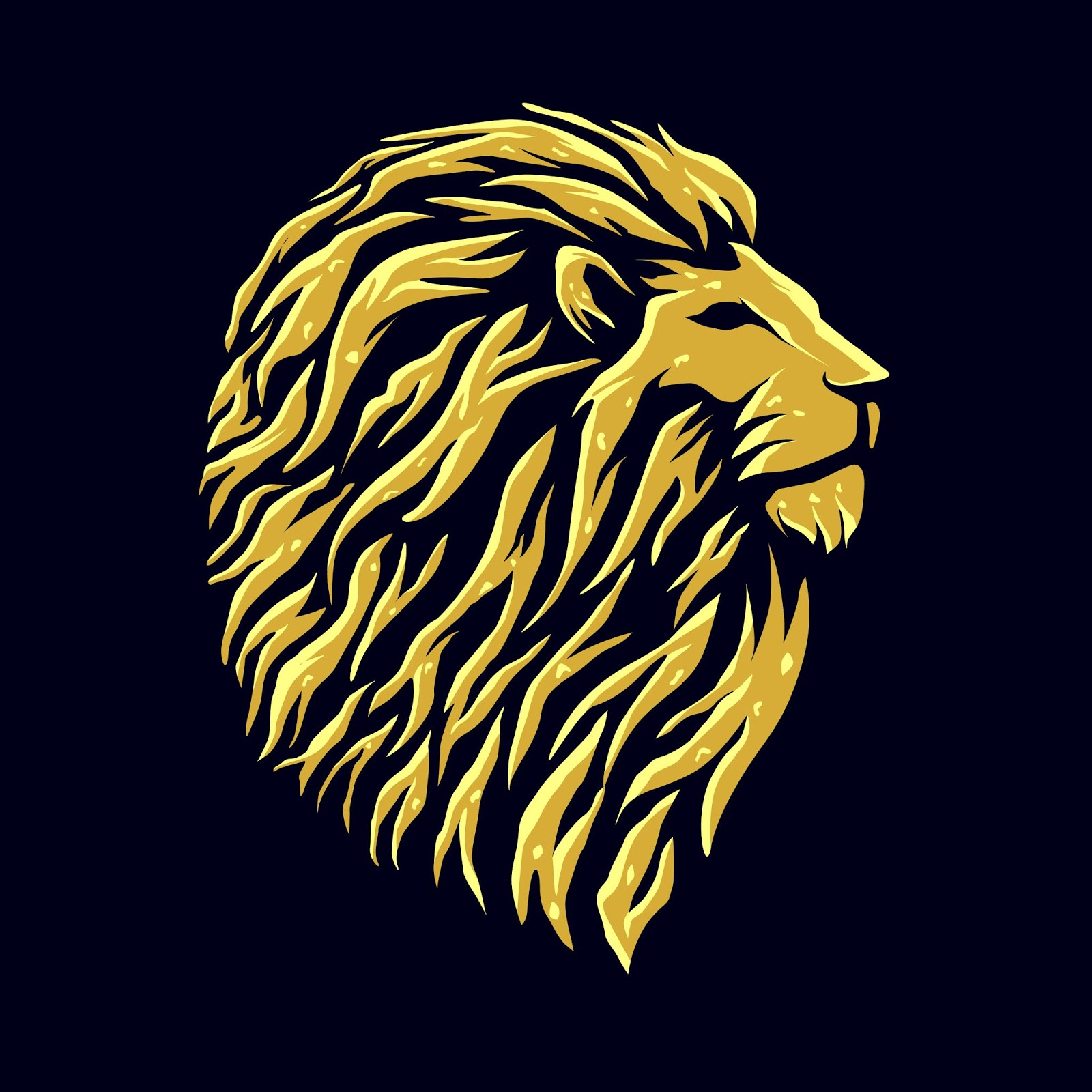 Golden Lion Head Logo Design Free Download Vector CDR, AI, EPS and PNG Formats