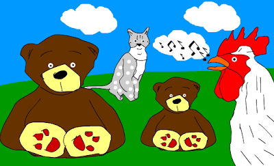 Meda, petao, mačak, medvedić