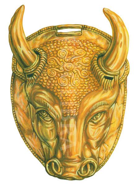 MINOAN HEAD OF BULL WITH HORNS