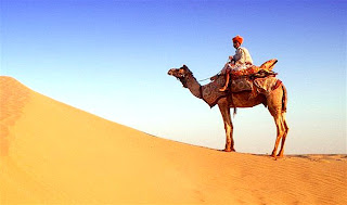 A camel rider in a Pakistani desert