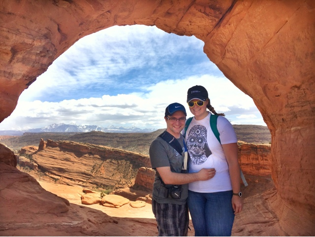 Ben and Meagan in an arch in Arches National Park