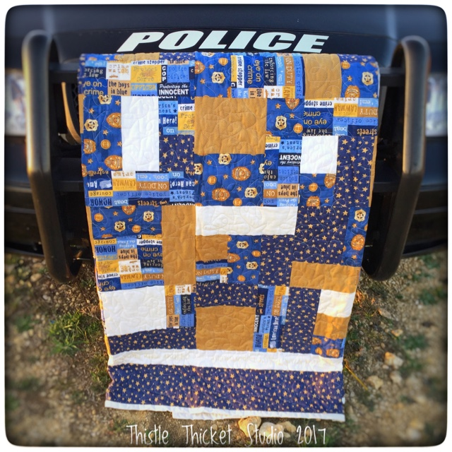 Thistle Thicket Studio, police quilt, boys in blue quilt, yellow brick road quilt pattern
