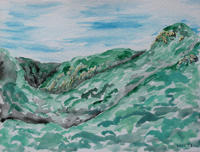 watercolor of the canyon heading west from Forbush